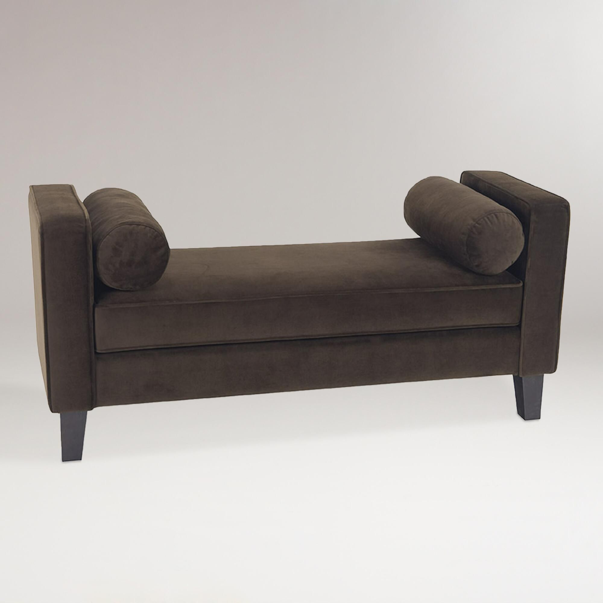Our Expertly Crafted Chocolate Velvet Taylor Bench With Bolsters Is A Thrilling Alternative To The Common Sofa Covered In Rich Plush