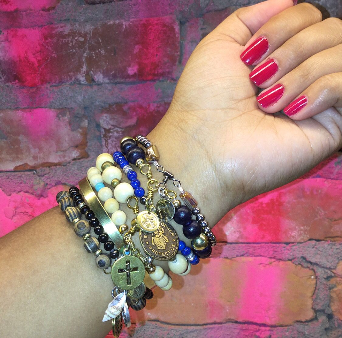 OUR CHARMS SWIVEL • mix of gemstone and wood bead stretch bracelets