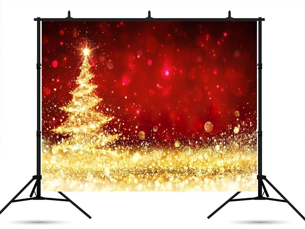 7ft(W) x5ft(H) (220x150cm) Red Photography Backdrop Microfiber Gold Christmas Tree Backdrops for Picture #backdropsforphotographs