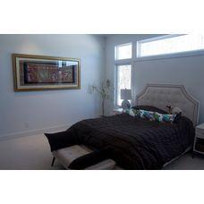 Petros Homes. Modern Contemporary Home. Master bedroom, transom windows, texture carpet.