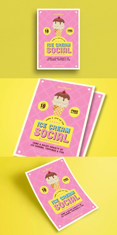 ice cream social event flyer template ai psd a4