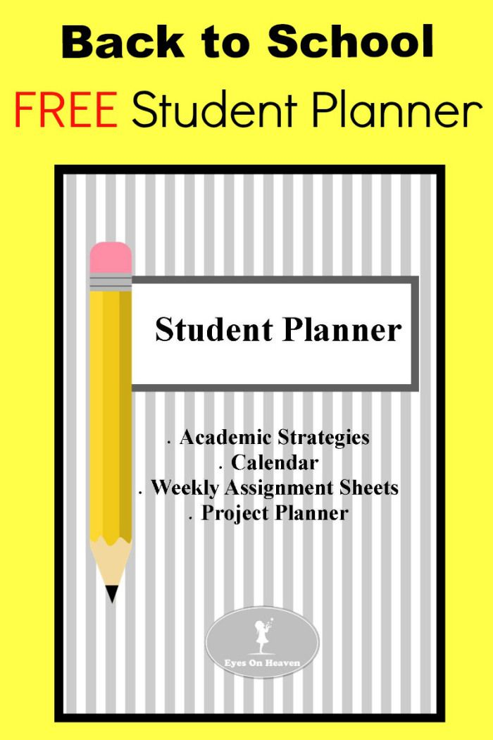 Free Student Planner Get Organized  Assignment Sheet Project