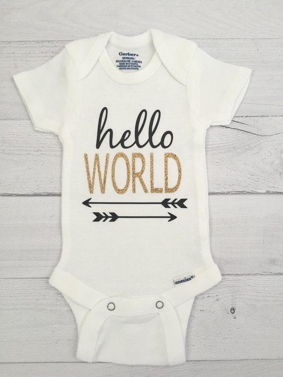 0b68cb4aa Hello World ONESIE®, Newborn Coming Home Outfit, Gender Neutral Newborn  ONESIE®