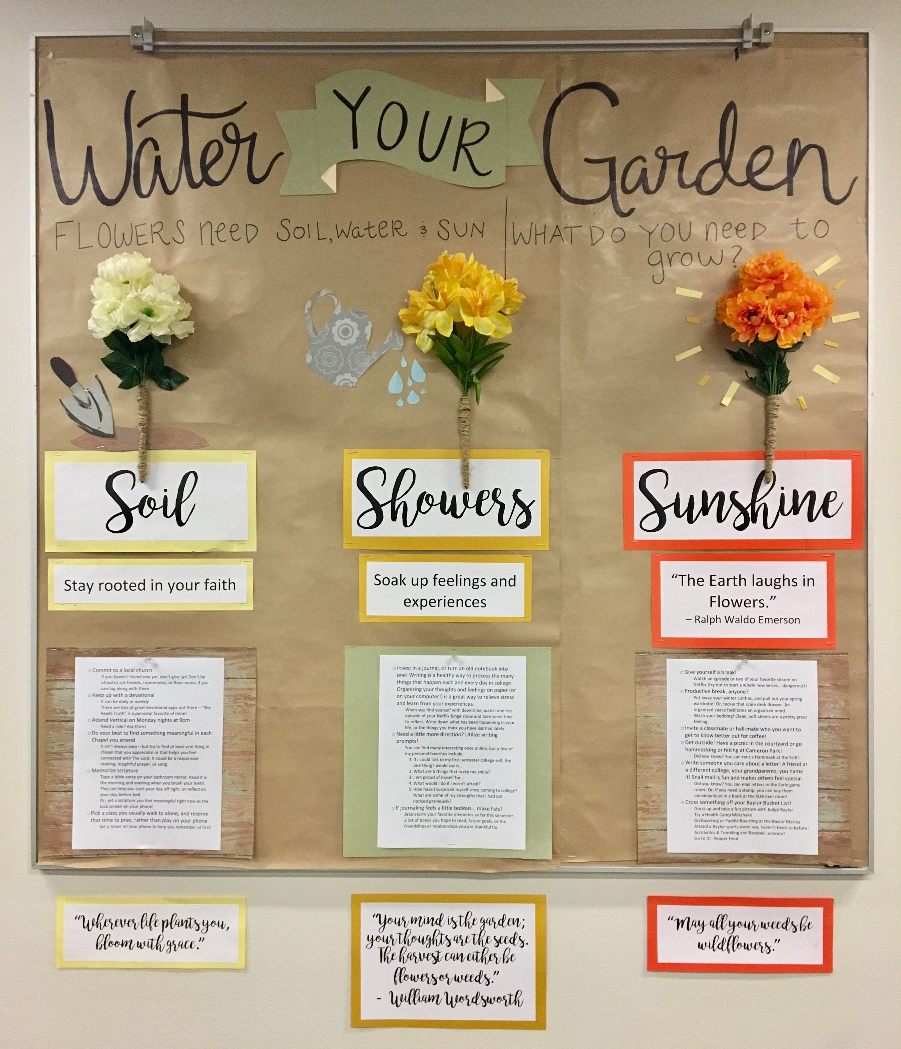 Water your Garden Bulletin Board. Flowers need sun, water & soil. What do you need to grow in college? Faith, self-reflection & experiences. #rabulletinboards
