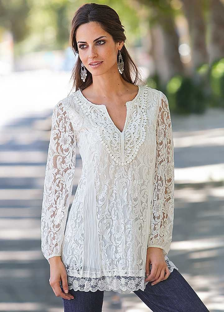 Tunic Tops for Older Women | Together Lace Tunic | Tops | Fashion ...