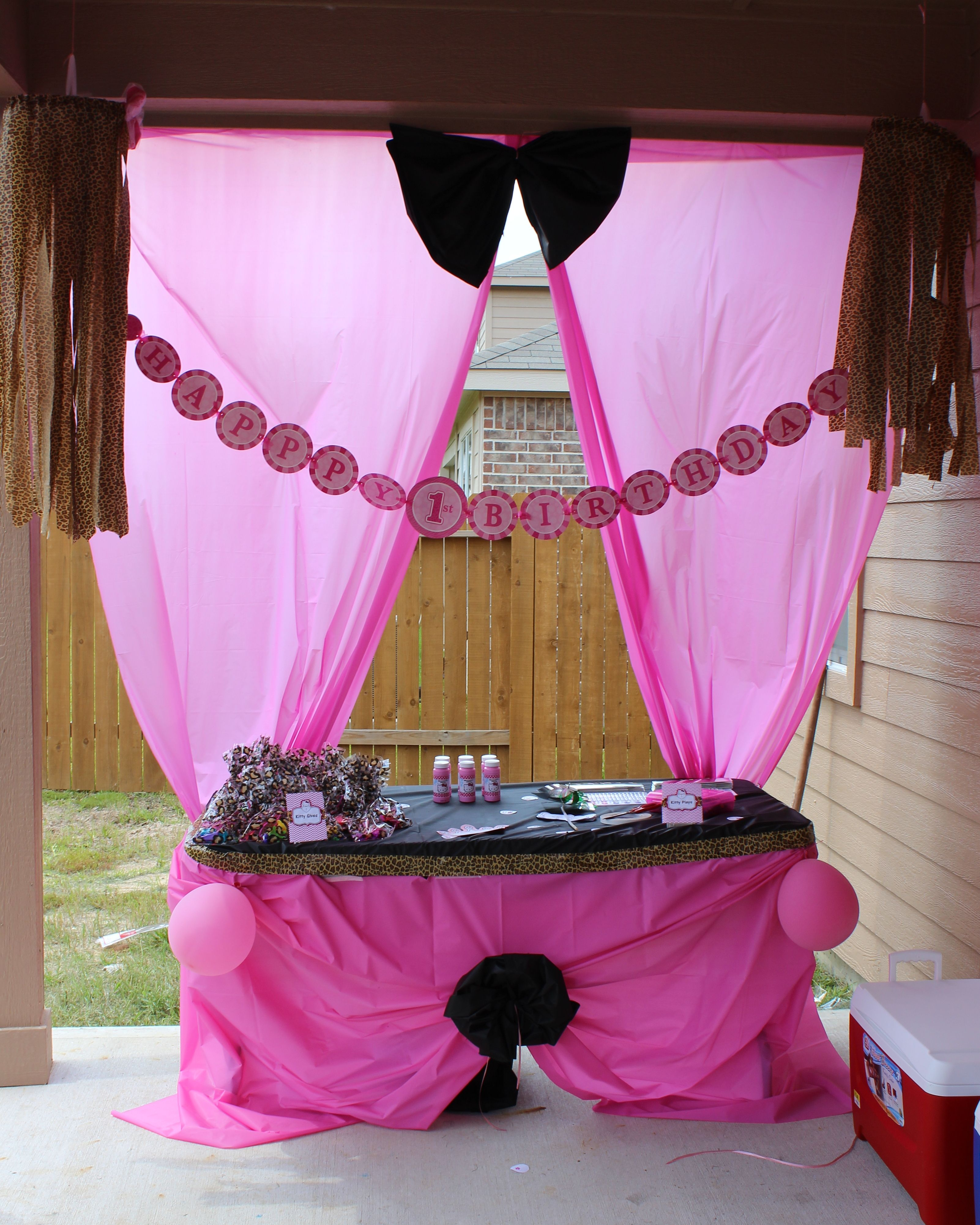 Cheetah Hello Kitty Decorations Using $.97 Tablecloths, Cheetah Ductape,  And Streamers And Balloons. Used Tablecloths Like Fabric To Make The  Tableskirt, ...