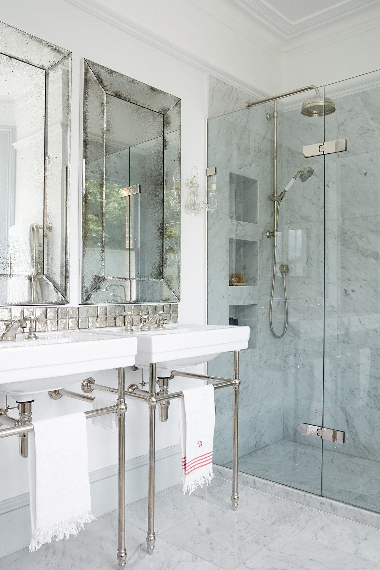 carrara marble bathroom imagessmall - Bathroom Ideas Large Shower