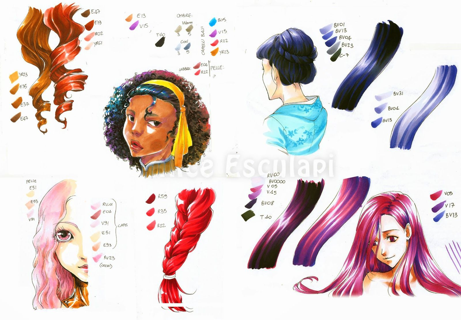 Copic Italia Tutorial Come Colorare I Capelli In Stile Manga