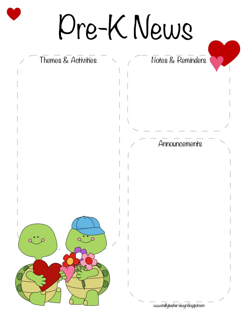 Pre-K Valentine's Day, February Newsletter Template | The Crafty ...