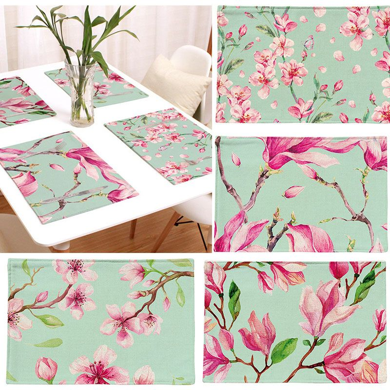 1pc Pastoral Floral Western Pad Placemat Dining Table Mats Set De Table Bowl Pad Napkin Dining Table Tray Mat Coasters T Dining Table Table Mats Table Settings