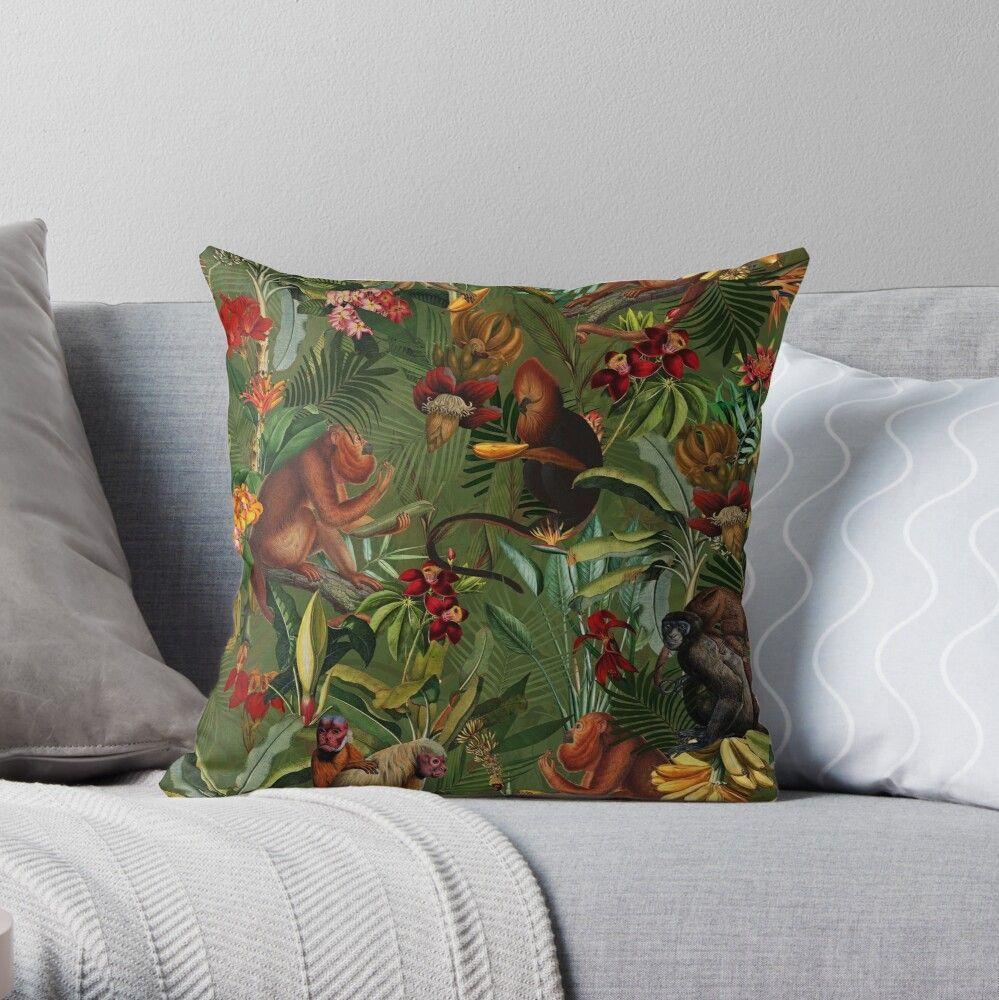 'Tropical monkey jungle pattern - dark green' Throw Pillow by UtArt #junglepattern Tropical monkey jungle pattern - dark green Throw Pillow #junglepattern