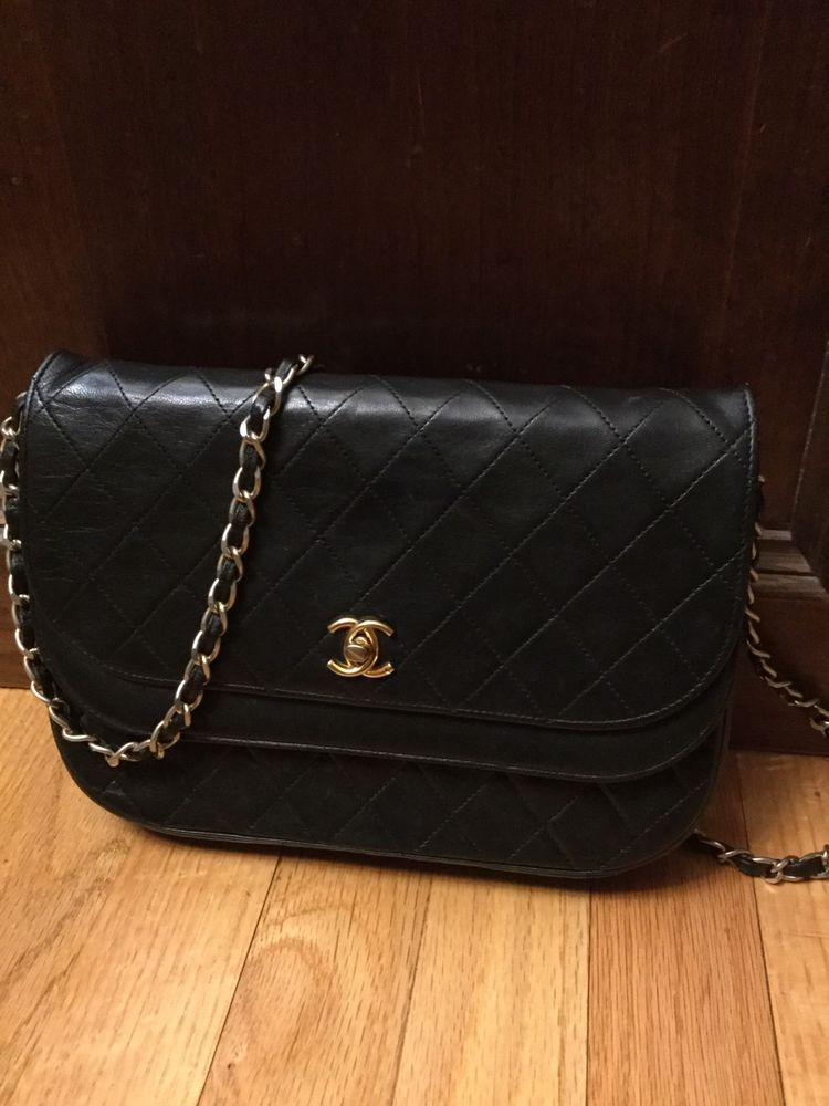 Chanel Vintage Black Lambskin Double Flap Quilted Cc Gold Shoulder Bag France Ebay Vintage Chanel Chanel Shoulder Bag
