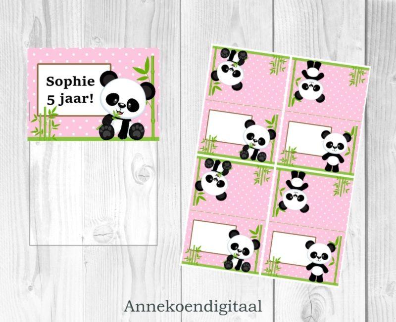 Panda traktatie zakje label