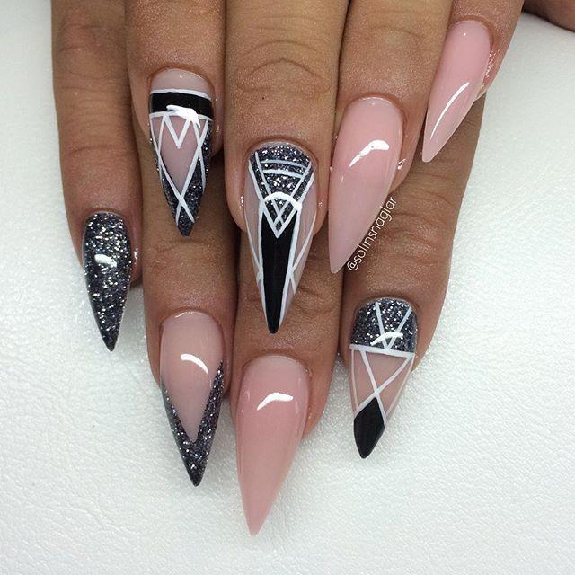 Картинки острых ногтей с дизайном трешер