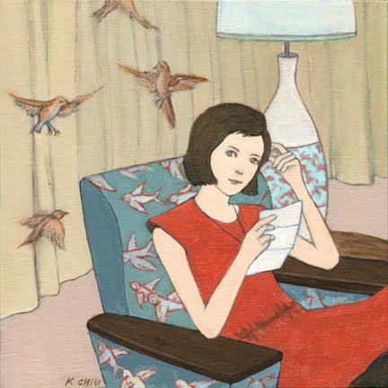 A carta, 2010 Katherine Chiu ( EUA, contemporânea) acrílica sobre placa, 15 x 15 cm www.katherinechiu.net  —-