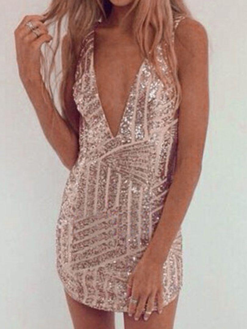 Golden Luxurious Sequin V-neck Backless Sleeveless Bodycon Dress