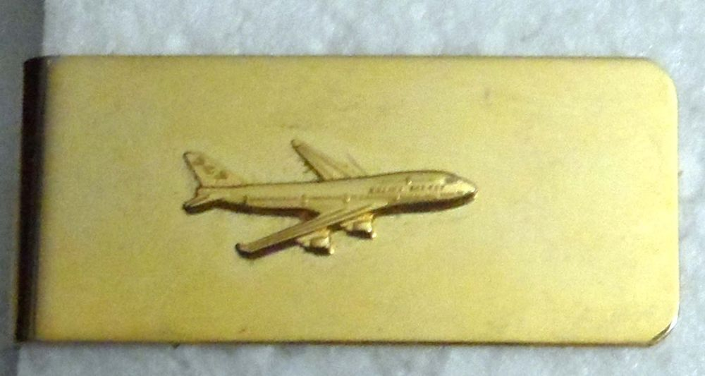 Men's Jewelry Gold Toned Money Clip with Boeing 747 airplane           D11 #Unknown