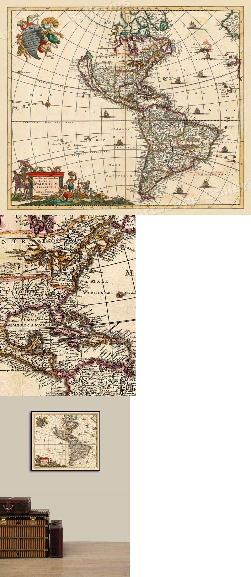 World Maps 98466 New World 1680 Vintage Style Western Hemisphere
