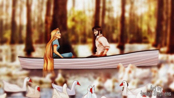 disney princesses reimagined as the notebook. Rapunzel and eugene
