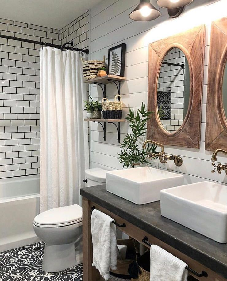 beautiful black white and wood farmhouse style bathroom on beautiful farmhouse bathroom shower decor ideas and remodel an extraordinary design id=40066