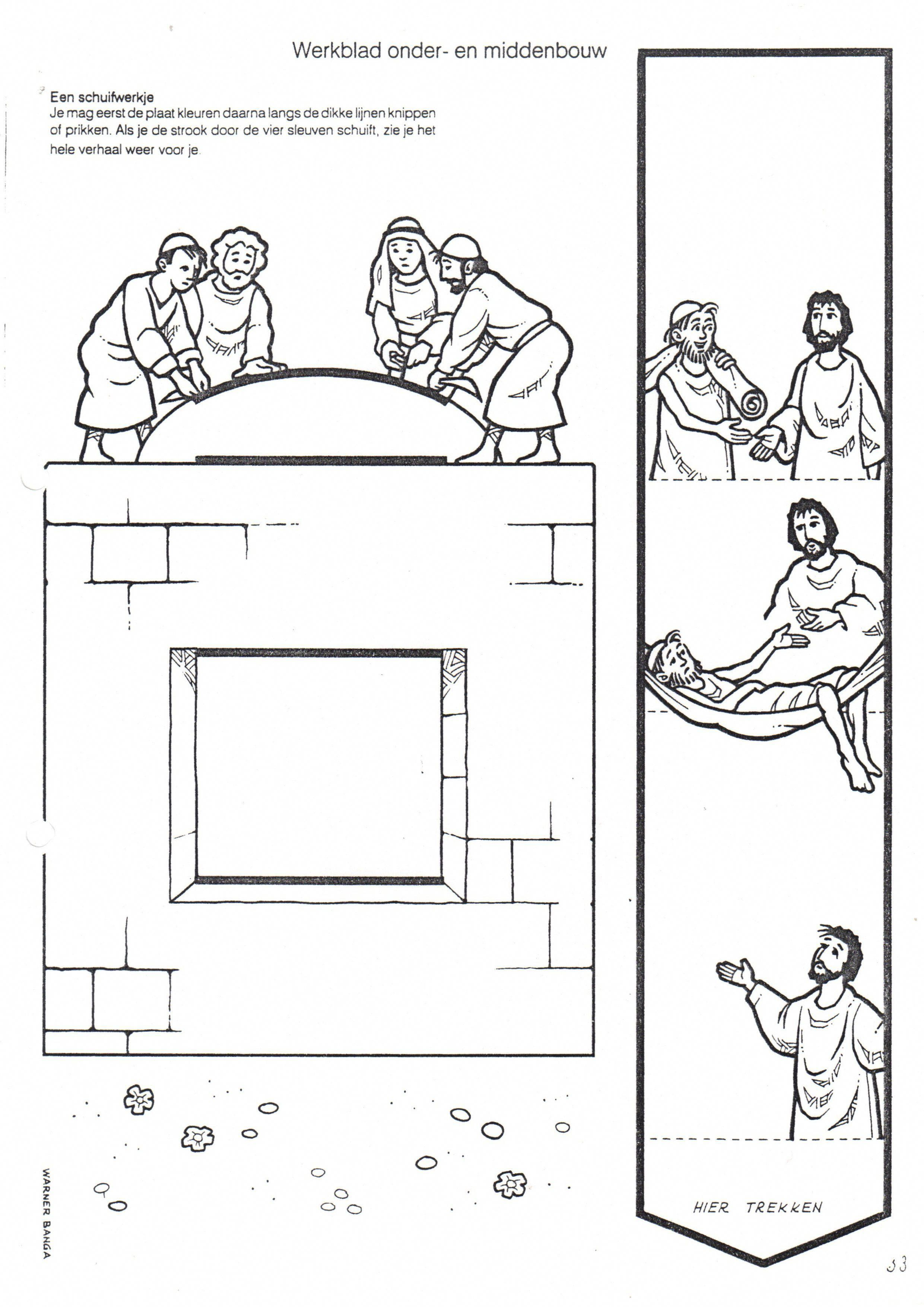 Jesus Heals Paralytic Let Down Through Roof Bible Coloring