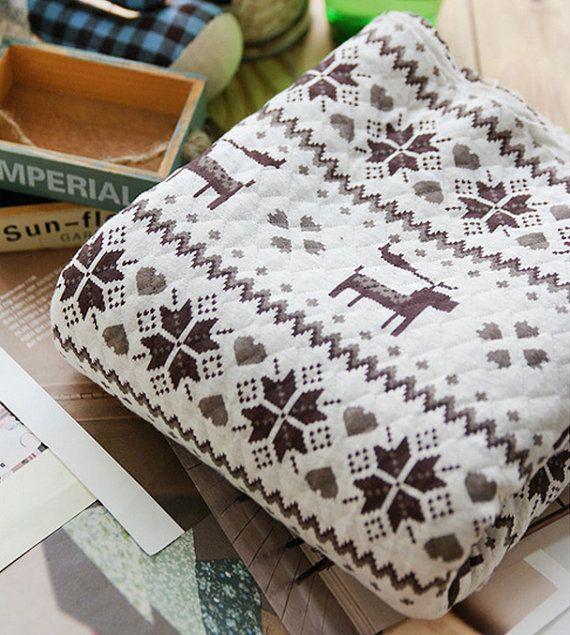 Turquoise Charcoal FairIsle Reindeer Pattern on White Cotton ...