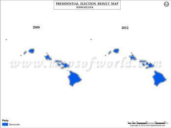 Hawaii Election Results Map Vs USA Presidents - 2008 and 2012 us presidential election results maps