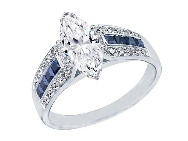 10*5MM Marquise Cut Blue Diamond /& Round Cut CZ Diamond Ring Solitaire With Accents Diamond Ring Wedding RIng For WOmen Engagement Ring