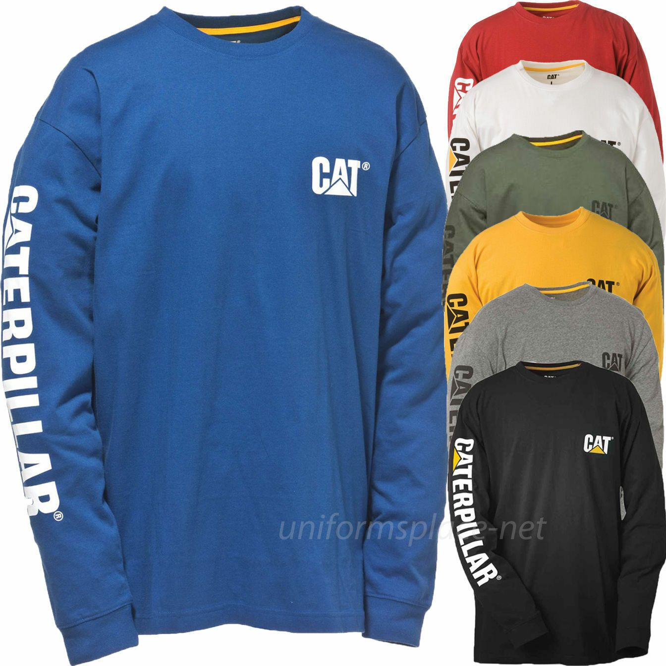 Caterpillar T shirt Men CAT Long Sleeve Graphic Logo Tee T Shirts Cotton Color