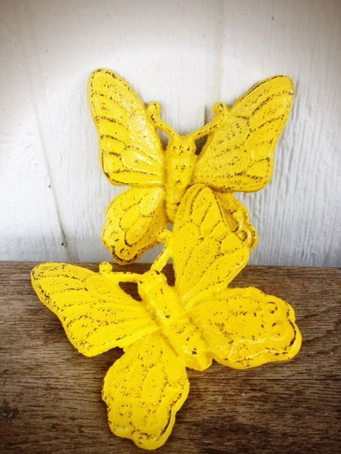 Sunny Canary Yellow Shabby Chic Butterfly Wall Decor - Spring Hand ...