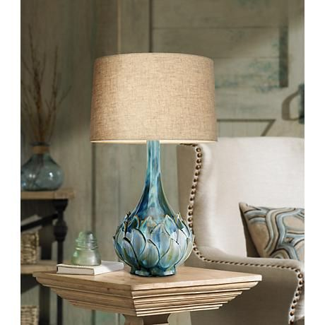 Possini Euro Kenya Blue Green Ceramic Table Lamp - Style # 7D486 ...