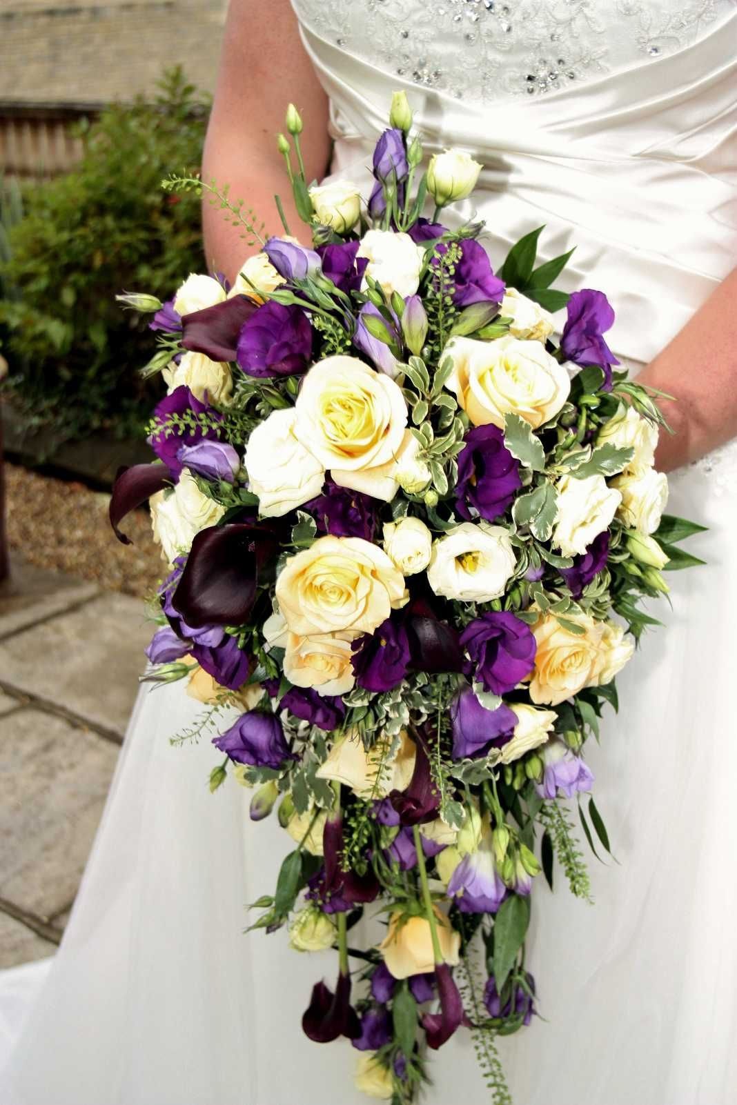 Teardrop bouquet of Creme de La Creme Roses, Purple Calla Lilies and ...