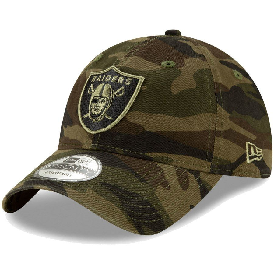 Men s Oakland Raiders New Era Camo Core Classic Woodland Camo Tonal 9TWENTY Adjustable  Hat a36e0876b