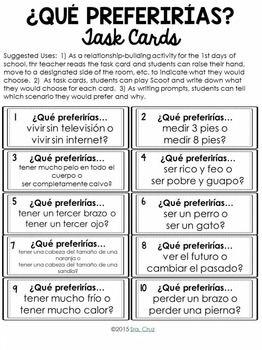Qué Preferirías Spanish Ice Breaker Questions Teaching