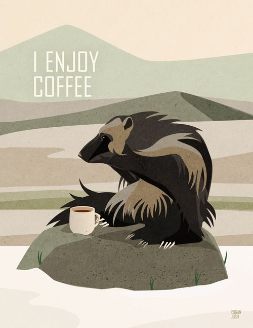 I enjoy coffee. Don't you? So does this wolverine.  Prints at Society6!