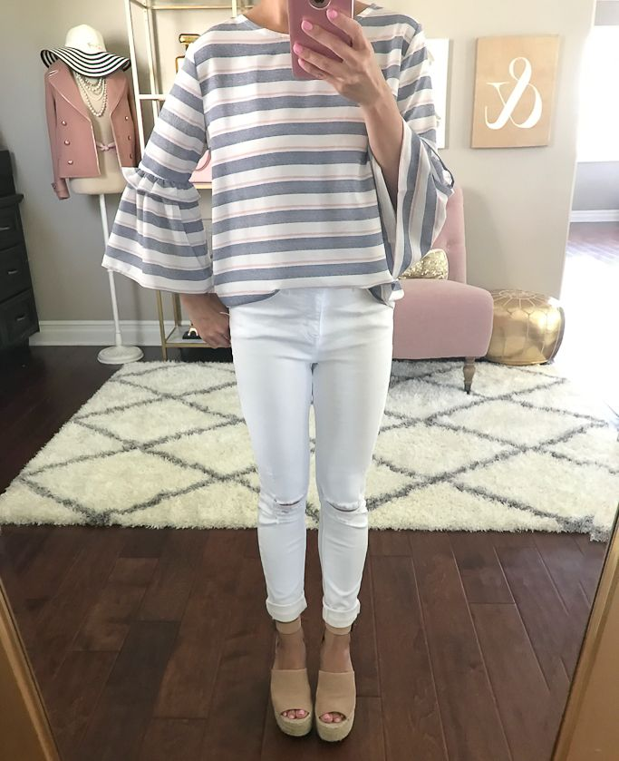 wedge sandals, striped bell sleeves top, white jeans, spring outfit