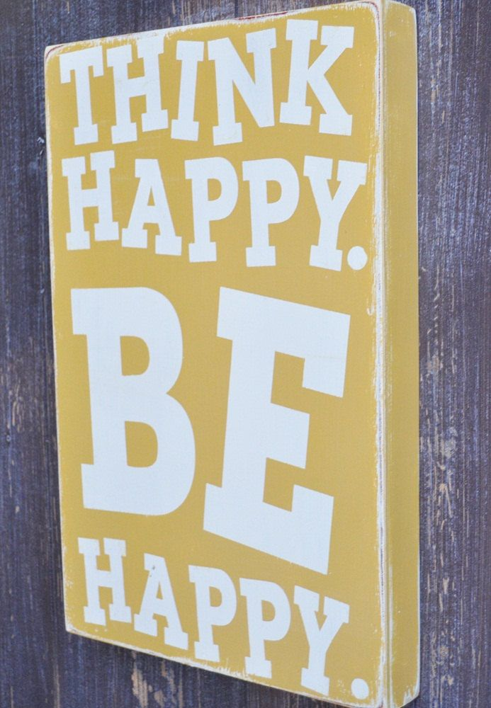 Hand Painted Custom Wood Sign - Think Happy -Typography Word Art ...