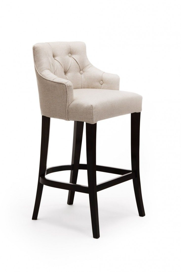 Lovely Beige Linen Bar Stool Idea With Tufted Back And Four Wood Legs In Black