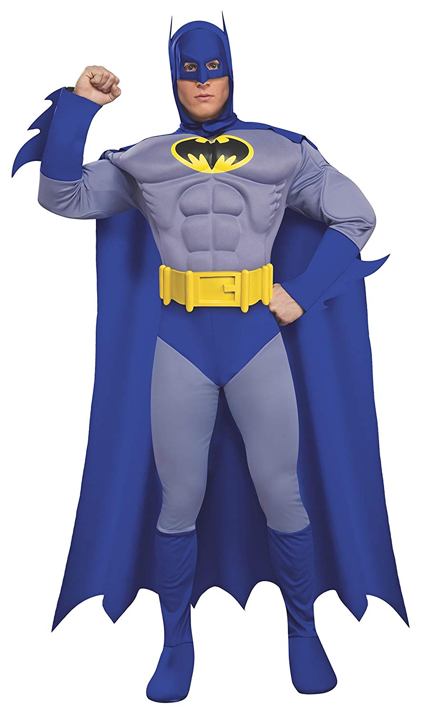 Super Hero Muscle Top Shirt Cape Justice Man Batman Blue Steel
