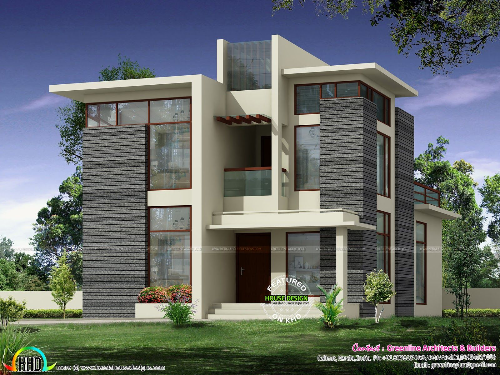 16 Awesome House Elevation Designs: 2236 Sq-ft Modern Contemporary Home