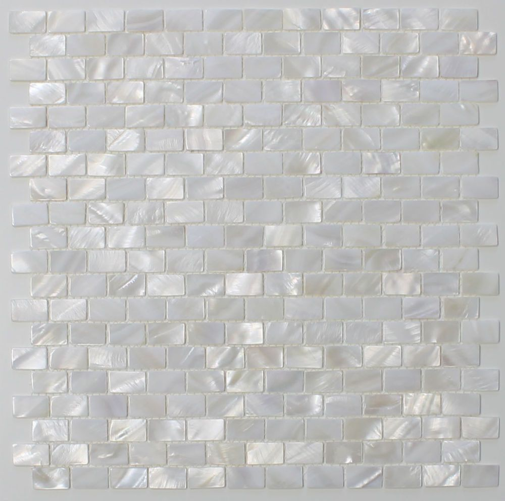 - Mother Of Pearl Oyster White Subway Mosaic Tiles - Kitchen