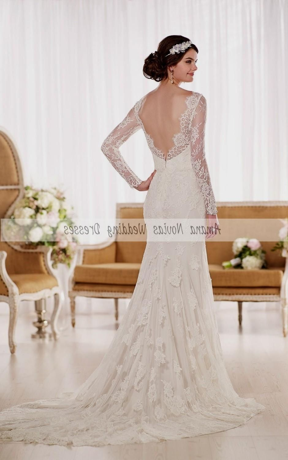Wedding dress low back lace sleeves wedding dress pinterest