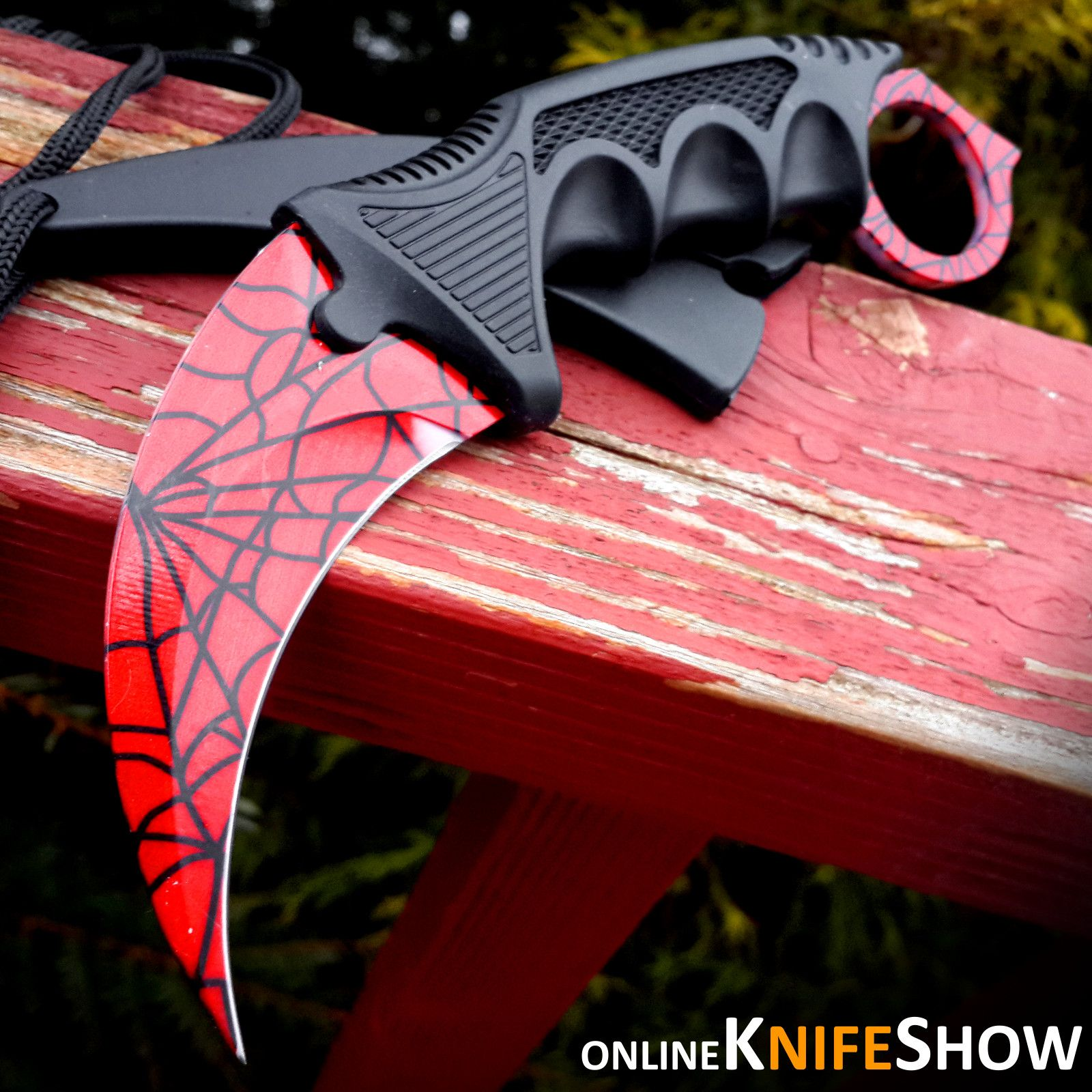 Red Spider Web Design Gamer Tattoos Neck Knife Karambit