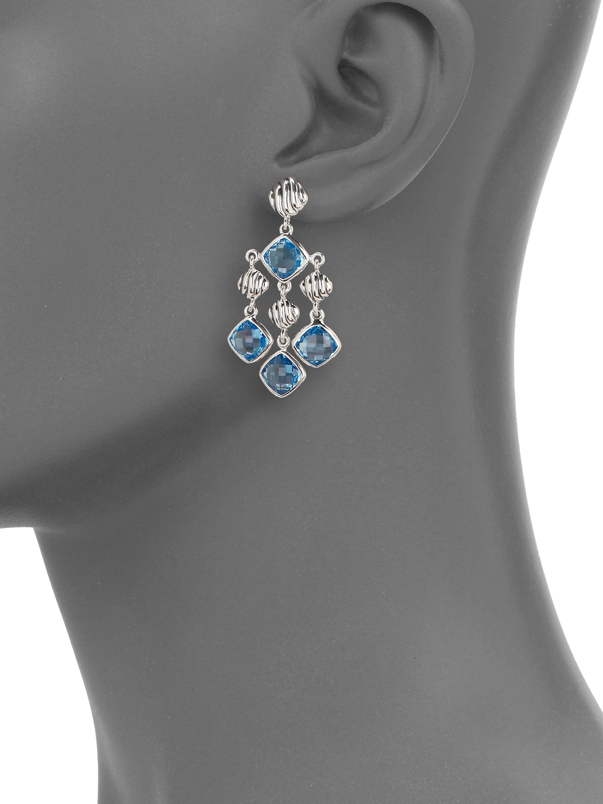David Yurman Blue Topaz Sterling Silver Chandelier Earrings In Multi