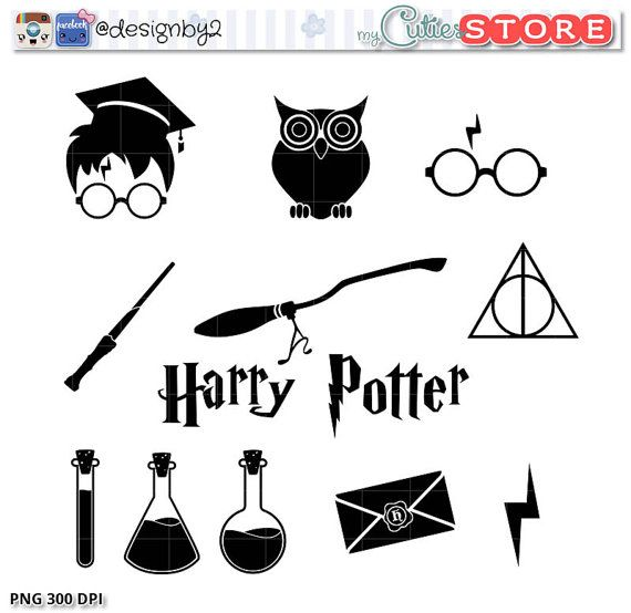 silhouette icons harry style set silhouette harry potter