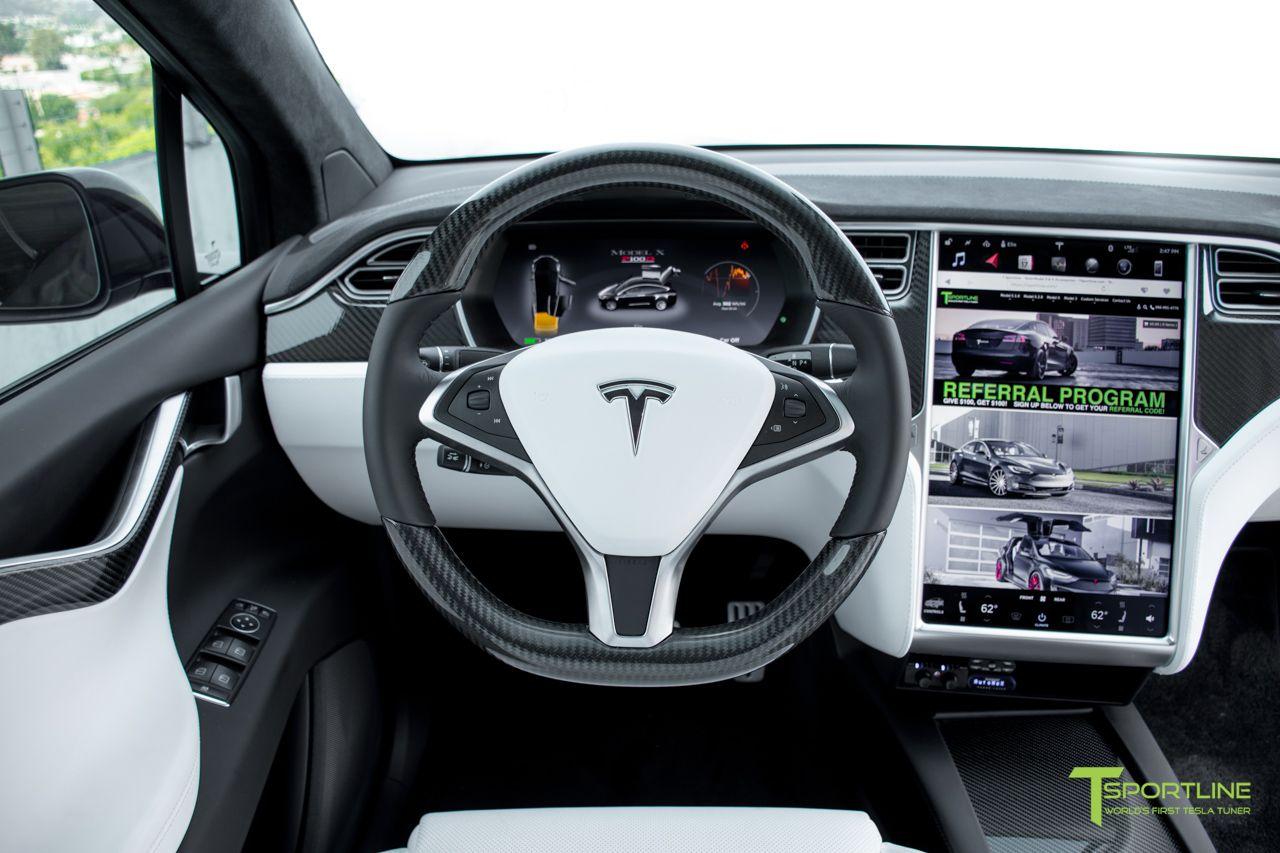 Tesla Gloss Carbon Fiber Steering Wheel Carbon Fiber