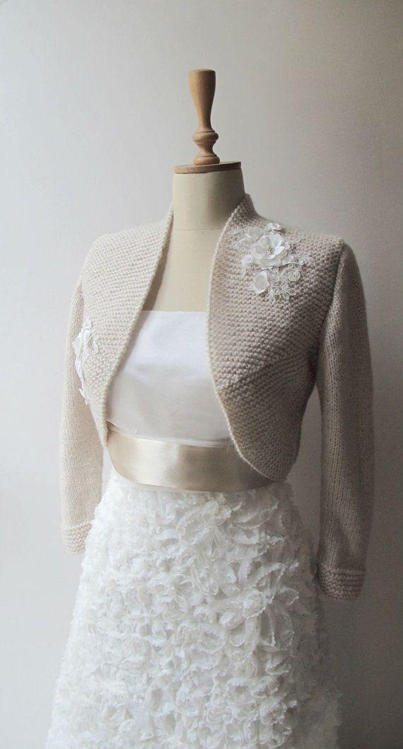 Braut Bolero Hochzeit Wolle zucken Champagner von crochetbutterfly ...