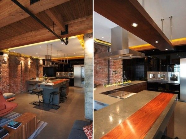The massive island with bar seating weighs two tons for Bachelor kitchen ideas