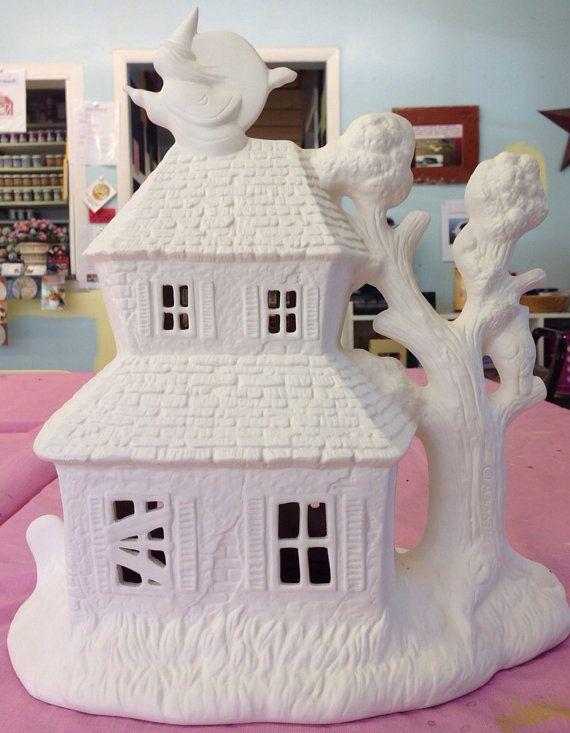Ceramic Haunted House Ceramic Bisque House By Theceramicbarn Proyectos De Halloween Casas De Adas Halloween