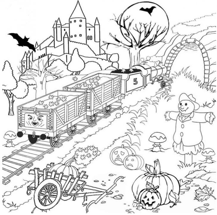 Thomas And Friends In Halloween Coloring Page For Kids | Adult ...